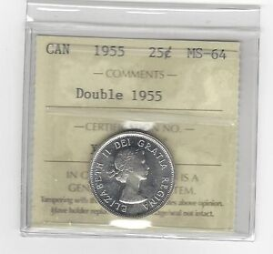 Click now to see the BUY IT NOW Price!   1955 DOUBLE DATE   ICCS GRADED CANADIAN SILVER 25 CENT   MS 64