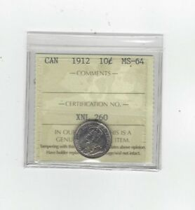 Click now to see the BUY IT NOW Price!   1912   ICCS GRADED CANADIAN  10  CENT   MS 64