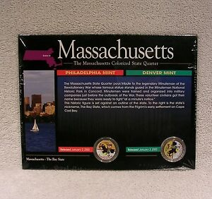 COLORIZED   2000  MASSACHUSETTS  P & D STATE QUARTER   STATEHOOD PAINTED SET