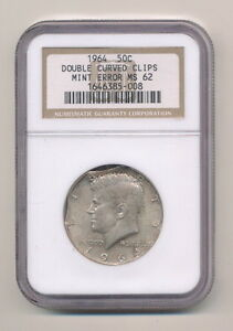 Click now to see the BUY IT NOW Price! 1964 MINT ERROR KENNEDY HALF DOLLAR NGC MS62 DOUBLE CURVED CLIPS