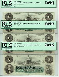 3 PROVIDENCE RHODE ISLAND BANK AMERICA $1 PLATES A B C NOTES PCGS V CH NEW 64PPQ