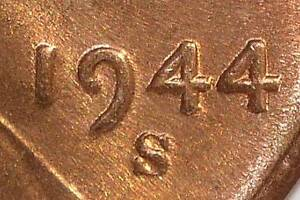 1944 S/S MS64 RD ERROR LINCOLN CENT  WHEAT PENNY RPM NEAR GEM SHIPS FREE