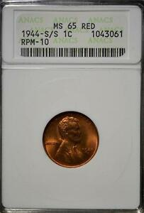 1944 S/S MS65 RD ERROR LINCOLN CENT GEM 061 UNCIRCULATED PENNY COPPER SHIPS FREE