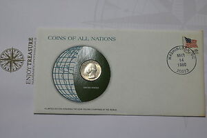 USA QUARTER DOLLAR 1979 COINS OF ALL NATIONS COVER FRANK. MINT A61 CAN13