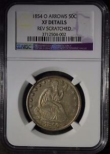 1854 O NGC XF SEATED LIBERTY HALF DOLLAR NEW ORLEANS 90  SILVER COIN SHIPS FREE