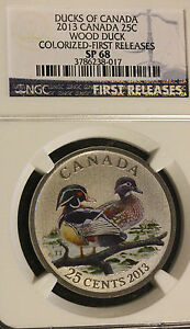 Click now to see the BUY IT NOW Price!   2013  DUCKS OF CANADA WOOD DUCK $.25C COLOUR FIRST RELEASE NGC GRADED  SP 68