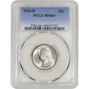 Click now to see the BUY IT NOW Price! 1934 D US WASHINGTON SILVER QUARTER 25C   PCGS MS66