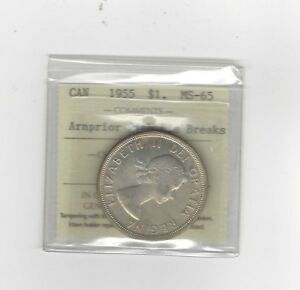 Click now to see the BUY IT NOW Price!   1955 ARNPRIOR WITH DIE BREAKS   ICCS GRADED CANADIAN SILVER DOLLAR   MS 65