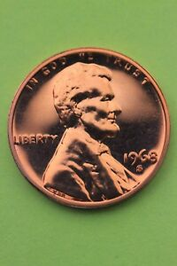 1968 S PROOF LINCOLN CENT PENNY EXACT COIN PICTURED FLAT RATE SHIPPING TOM21