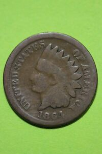 LOW GRADE 1864 BRONZE INDIAN HEAD CENT EXACT COIN SHOWN FLAT RATE SHIP OCE 402