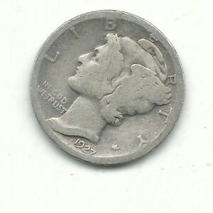 A NICE VINTAGE 1927 P MERCURY SILVER DIME OLD US COIN JAN236