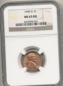 1949 D CENT NGC 65 RED
