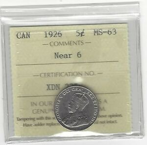 Click now to see the BUY IT NOW Price!   1926 NEAR 6   ICCS GRADED CANADIAN FIVE CENT   MS 63