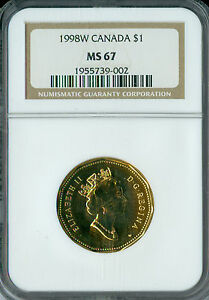 1998 W CANADA $1 LOON NGC MS 67 2ND FINEST GRADED SPOTLESS