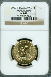 2009 P SACAGAWEA  AGRICULTURE DOLLAR NGC MS67 2ND FINEST BUSINESS STRIKE