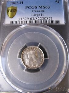 Click now to see the BUY IT NOW Price!   1903H LARGE H   PCGS GRADED CANADIAN SMALL SILVER FIVE CENT   MS 63