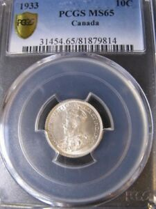 Click now to see the BUY IT NOW Price!   1933   PCGS GRADED CANADIAN TEN CENT   MS 65