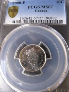 Click now to see the BUY IT NOW Price!   2000P   PCGS GRADED CANADIAN TEN CENT   MS 67