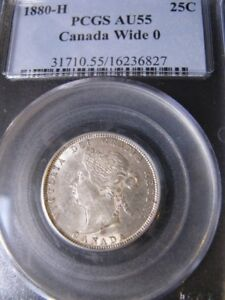 Click now to see the BUY IT NOW Price!   1880H WIDE 0   PCGS GRADED CANADIAN TWENTY FIVE CENT   AU 55