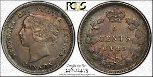 Click now to see the BUY IT NOW Price! 1884 NEAR POINTED 4 CANADA 5 CENTS SILVER  PCGS AU58 LOTG673 KEY DATE