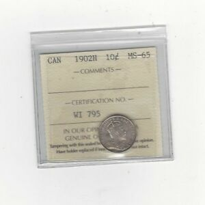 Click now to see the BUY IT NOW Price!   1902H   ICCS  GRADED CANADIAN  10  CENT   MS 65