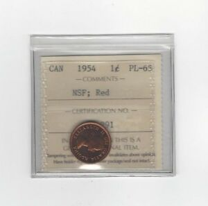 Click now to see the BUY IT NOW Price!   1954 NSF   ICCS GRADED CANADIAN SMALL ONE CENT   PL 65