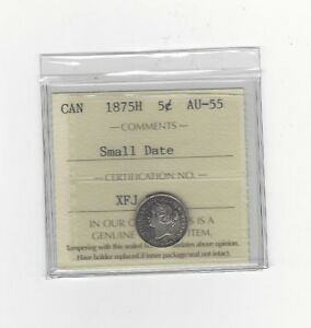 Click now to see the BUY IT NOW Price!   1875H SD   ICCS GRADED CANADIAN  5 CENT   AU 55