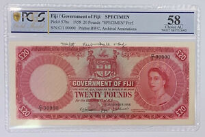 Click now to see the BUY IT NOW Price! FIJI 20 POUNDS 1ST NOVEMBER 1958  PERFORATED SPECIMEN PICK 57BS PCGS 58