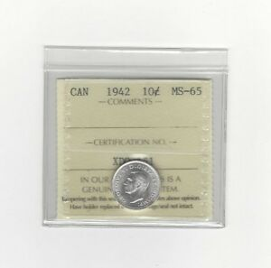 Click now to see the BUY IT NOW Price!   1942   ICCS GRADED CANADIAN  10  CENT   MS 65