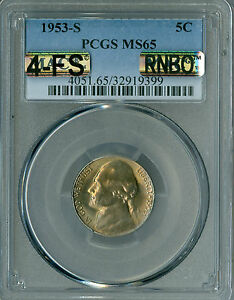 Click now to see the BUY IT NOW Price! 1953 S JEFFERSON NICKEL PCGS MAC MS 65 4 FS RNBO RAINBOW  $20 000 IN FS