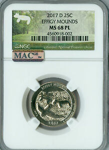 Click now to see the BUY IT NOW Price! 2017 D EFFIGY MOUNDS QUARTER NGC MAC MS68 PL PQ FINEST POP 3 SPOTLESS