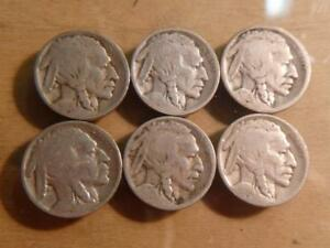 6 DIFFERENT BUFFALO NICKELS EARLY DATES WEAK @ DATE CIRCULATED SKU10123