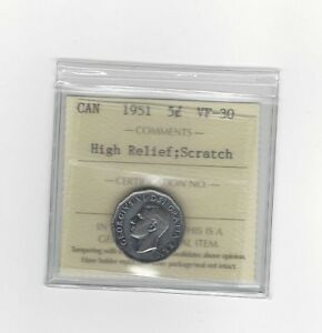 Click now to see the BUY IT NOW Price!   1951 HIGH RELIEF   ICCS GRADED CANADIAN FIVE CENT   VF 30 SCRATCH