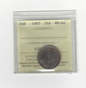 Click now to see the BUY IT NOW Price!   1907   ICCS GRADED CANADIAN 25 CENT   MS 64