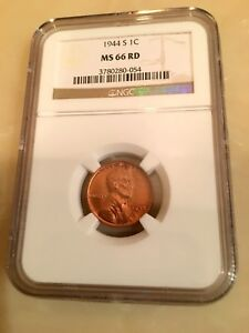 1944 S 1C LINCOLN WHEAT CENT NGC MS 66 RD BEAUTIFUL UNCIRCULATED COIN