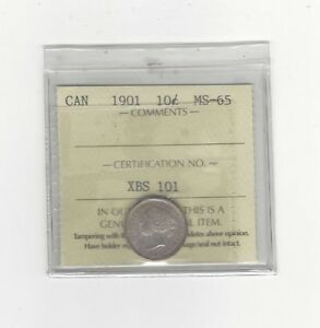 Click now to see the BUY IT NOW Price!   1901   ICCS GRADED CANADIAN  10  CENT   MS 65