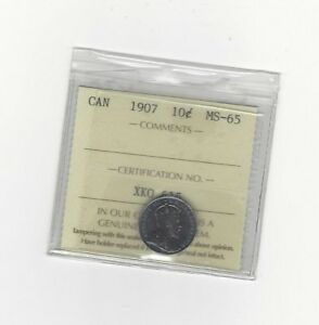 Click now to see the BUY IT NOW Price!   1907   ICCS GRADED CANADIAN  10  CENT   MS 65