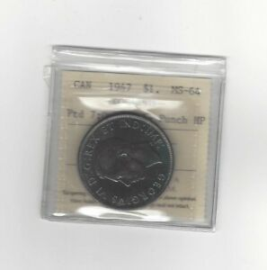 Click now to see the BUY IT NOW Price!   1947 POINTED 7 QUAD HP   ICCS GRADED CANADIAN SILVER DOLLAR   MS 64