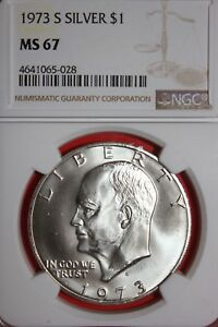1973 S MS67 40  SILVER EISENHOWER DOLLAR NGC GRADED FLAT RATE SHIPPING OCE1149