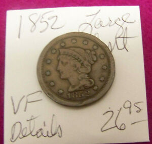 1852  LARGE CENT   VF  DETAILS
