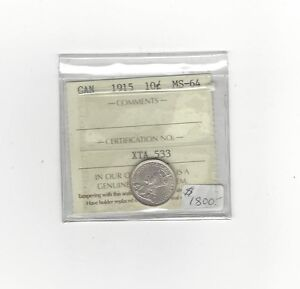 Click now to see the BUY IT NOW Price!   1915   ICCS  GRADED CANADIAN  10  CENT   MS 64