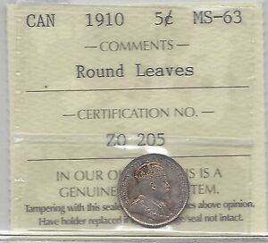 Click now to see the BUY IT NOW Price!   1910 ROUND LEAVES BOW TIE   ICCS GRADED CANADIAN  5 CENT   MS 63