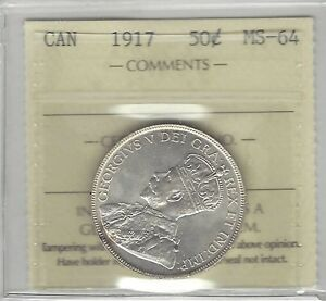 Click now to see the BUY IT NOW Price!   1917   ICCS GRADED CANADIAN 50 CENT   MS 64