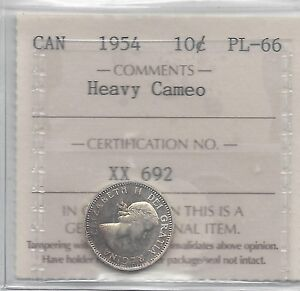 Click now to see the BUY IT NOW Price!   1954   ICCS  GRADED CANADIAN  10  CENT   PL 66 HEAVY CAMEO