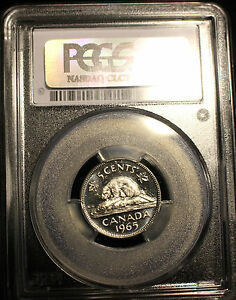 Click now to see the BUY IT NOW Price!   1965 LARGE BEAD DJ   PCGS GRADED CANADIAN  NICKEL 5 CENT   MS 63