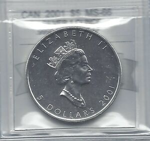 2001  CANADIAN $5 SML  COIN MART GRADED  MS 66 BU