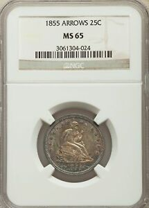 Click now to see the BUY IT NOW Price! 1855 US SILVER 25C SEATED LIBERTY QUARTER ARROWS   NGC MS65