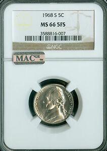 Click now to see the BUY IT NOW Price! 1968 S JEFFERSON NICKEL NGC MAC MS66 FS PQ  FINEST REGISTRY POP 4 SPOTLESS