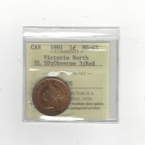 Click now to see the BUY IT NOW Price!   1891 SL:SD OBV 3   ICCS GRADED CANADIAN LARGE ONE CENT   MS 65  VICTORIA N.