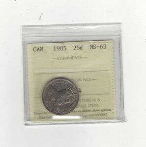 Click now to see the BUY IT NOW Price!   1905   ICCS GRADED CANADIAN 25 CENT   MS 63
